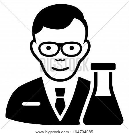 Chemist vector icon. Flat black symbol. Pictogram is isolated on a white background. Designed for web and software interfaces.