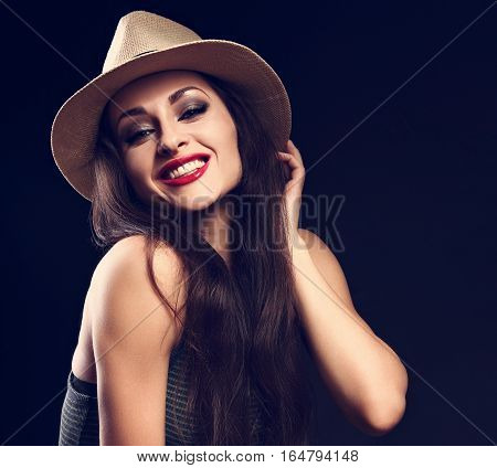 Beautiful Toothy Smiling Female Model With Long Brown Hair Posing In Cowboy Hat And Fashion Green To