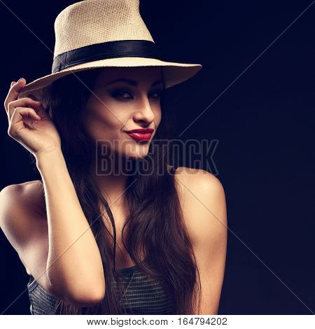 Beautiful Happy Grimacing Female Model With Long Brown Hair Posing In Cowboy Hat And Fashion Top On