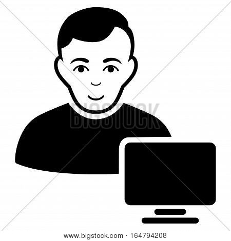 Computer Administrator vector icon. Flat black symbol. Pictogram is isolated on a white background. Designed for web and software interfaces.