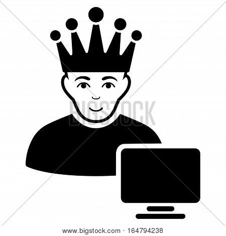 Computer Moderator vector icon. Flat black symbol. Pictogram is isolated on a white background. Designed for web and software interfaces.