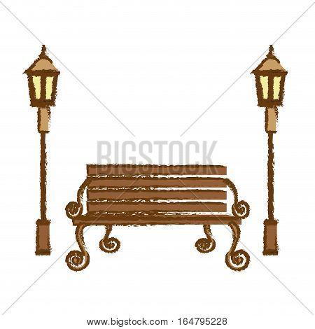 oudoors bench and lamps icon image vector illustration design