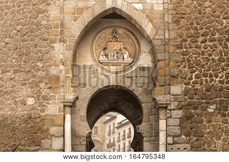 A fragment of Puerta del Sol in Toledo, Spain, toned photo