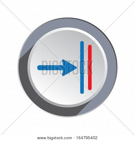 Deadline, move icon. Direction cursor, arrow to right sign. Guide, time limit symbol. One pointer blue silhouette on round three-dimensional button. Vector