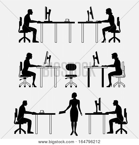 Architectural set of furniture with people. Sitting man, woman. Front view. Interiors elements for house, office, premises. Computer, table, chair. Standard size. Vector