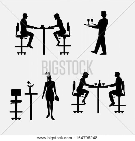 Architectural set of furniture with people. Sitting man, woman. Front view. Interiors elements for restaurant, bar, cafe, premises. Table, chair. Standard size. Vector