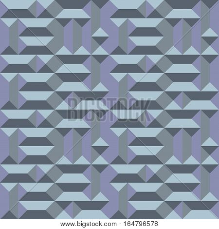 Seamless geometric architectural pattern. Convex metallic texture with rectangular and square pyramids. Gray blue colored background. Vector