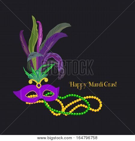 Festive poster concept. Mardi Gras celebration. Freehand cartoon fancy mask feather beads. Masquerade parade traditional symbol. Traditional holiday carnival sign. Vector decoration banner background