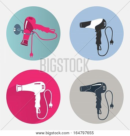 Hair-drier icon set. Blow hairdryer with two pin plug. Professional barber tool, hair care, household symbol. Modern colored sign on magenta, gray round flat label symbols. Vector isolated