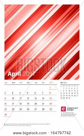 April 2017. Wall Monthly Calendar For 2017 Year. Vector Design Print Template With Abstract Red Back