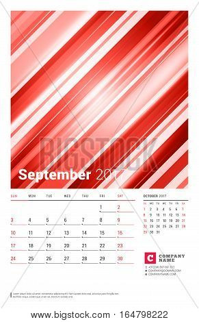 September 2017. Wall Monthly Calendar For 2017 Year. Vector Design Print Template With Abstract Red
