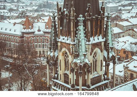 entrence of Gothic Church in cold winter day