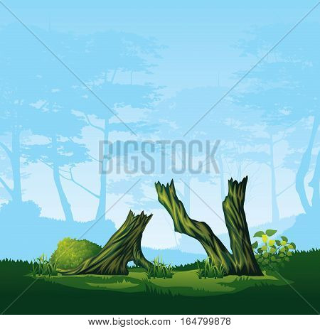 A high quality illustration of colorful tree with a curved crown