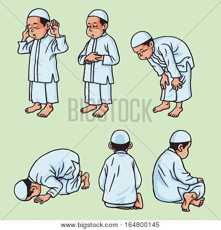 Muslim Kid Doing Salah, Salat, Shalat, Sholaat, Vector Set Illustration