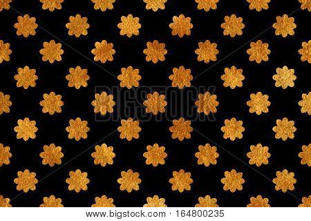 Golden Flowers On Black Background.