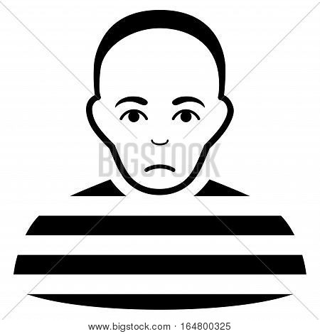 Prisoner vector icon. Flat black symbol. Pictogram is isolated on a white background. Designed for web and software interfaces.