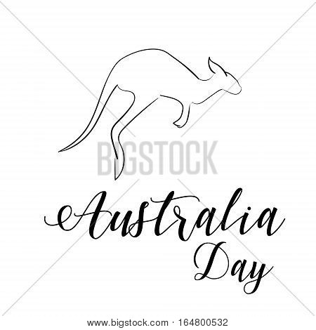 Australia day lettering. Kangaroo jumps isolated. Hand drawn shape