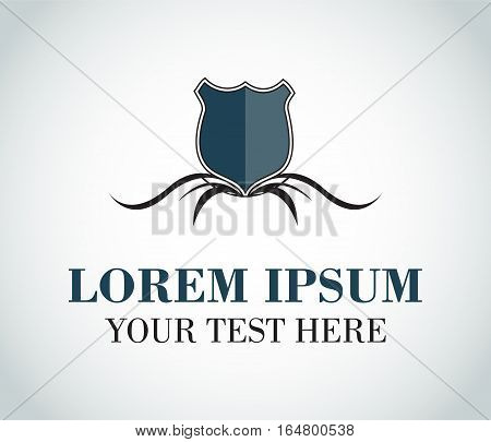 Modern blank heraldic logo with tagline - isolated vector illustration