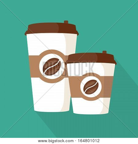 Two coffee to go paper cup. Coffee icon on a blue background. Takeaway coffee packages. Vector illustration