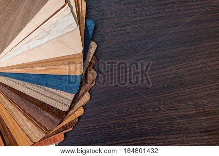 Color palette for furniture on a desk.