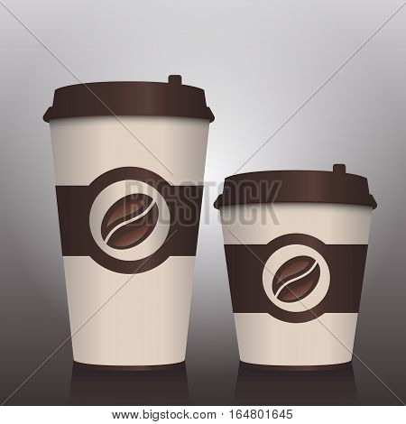 Two coffee to go paper cup. Small and big coffee. Takeaway coffee packages. Vector illustration