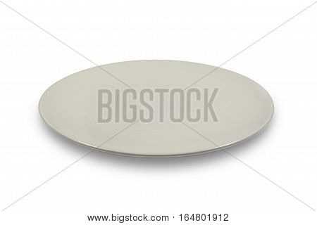 Flat off white shallow plate on white background from side