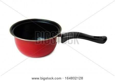 Ladle of steel with non-stick coating isolated on white background