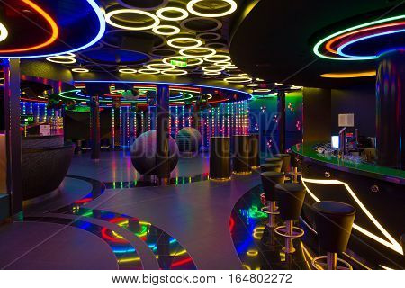 ROTTERDAM THE NETHERLANDS - NOV 24 2016: Nightclub on board of the AIDAprima cruise ship.