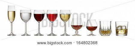Variety Of Glasses On White Background