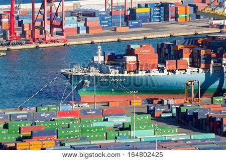 BARCELONA SPAIN - MAY 21 2016: Ship moored in the container terminal from the Port of Barcelona.