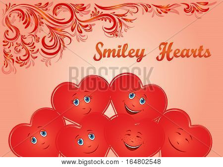 Valentine Holiday Background, Red Cartoon Smiley Faces Hearts and Floral Contour Ornament. Vector