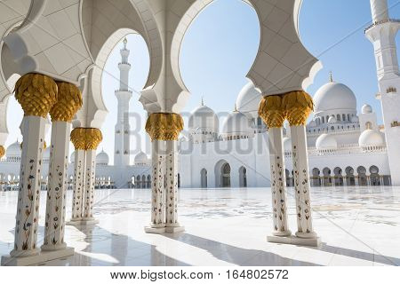 Sheikh Zayed Grand Mosque in Abu Dhabi the capital city of United Arab Emirates