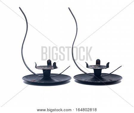 Black iron vintage candle holder isolated on white background