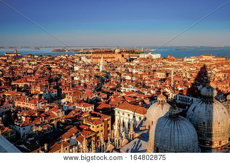 Aerial view in winter from the San Marco Square, Venice, Veneto, Italy. Panoramic view at blue hour.