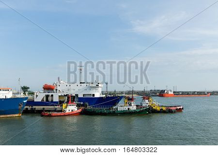 The KERCH STRAIT RUSSIA - JUNE 11.2015: Port