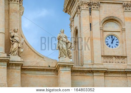 Details of Saint Nicholas of Myra Cathedral in Noto city Sicily in Italy