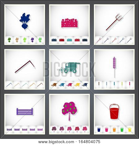 Farm. A set of flat stickers with shadow on white background. Vector illustration