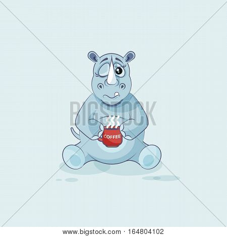 Vector Stock Illustration isolated emoji character cartoon rhinoceros just woke up with cup of coffee sticker emoticon for site, info graphic, video, animation, websites, mail, newsletter, reports