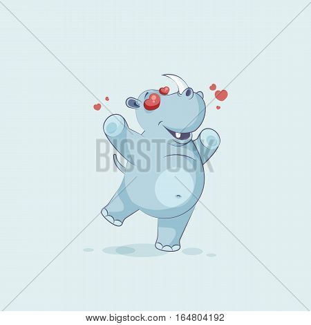 Vector Stock Illustration isolated emoji character cartoon rhinoceros in love flying with hearts sticker emoticon for site, info graphics, video, animation, websites, mail, newsletter, report, comic