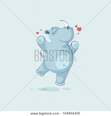 Vector Stock Illustration isolated emoji character cartoon rhinoceros jumping for joy, happy sticker emoticon for site, info graphics, video, animation, websites, mails, newsletters, reports, comics