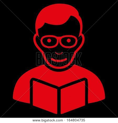 Reader vector icon. Flat red symbol. Pictogram is isolated on a black background. Designed for web and software interfaces.