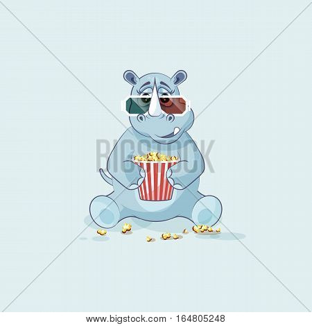 Vector Stock Illustration emoji character cartoon rhinoceros chewing popcorn, watching movie 3D glasses sticker emoticon for site, info graphic, video, animation, website, mail, newsletter, report