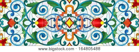 Illustration in stained glass style with abstract swirlsflowers and leaves on a light backgroundhorizontal orientation