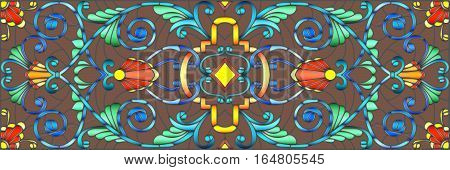 Illustration in stained glass style with abstract swirlsflowers and leaves on a brown backgroundhorizontal orientation
