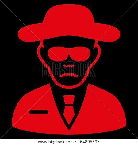 Security Agent vector icon. Flat red symbol. Pictogram is isolated on a black background. Designed for web and software interfaces.