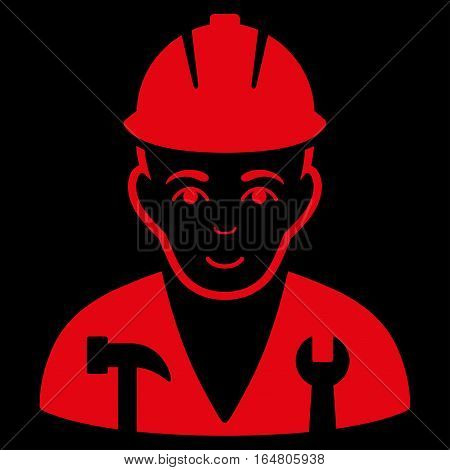 Serviceman vector icon. Flat red symbol. Pictogram is isolated on a black background. Designed for web and software interfaces.
