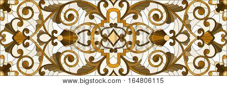 Illustration in stained glass style with abstract swirls flowers and leaves on a light backgroundhorizontal orientation sepia