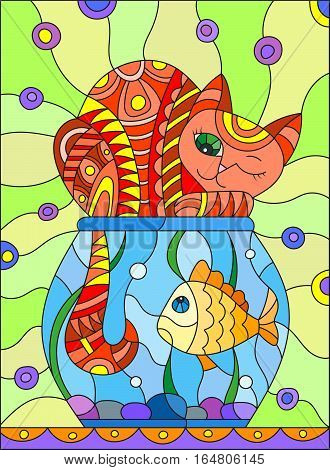 Illustration in stained glass style with red abstract cat and goldfish in the aquarium