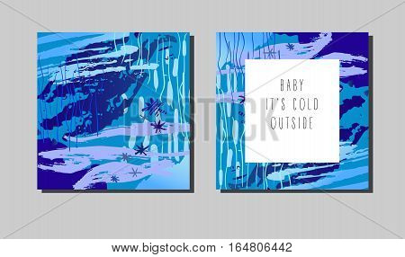 Set of modern winter graphic cards with hand drawn textures. Trendy winter artwork. Design template for poster, card, invitation, placard, brochure, flayer. Vector illustration stock vector.