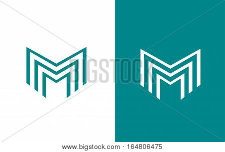 Alphabet letter M line lineart vector logo icon sign design template